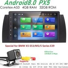 PX5 9 дюймов 1024×600 HD сенсорный экран 1 din Android 8,0 Автомобильный мультимедийный Радио стерео для BMW E39 E53 X5 Wi-Fi 4G Bluetooth DVR RDS USB