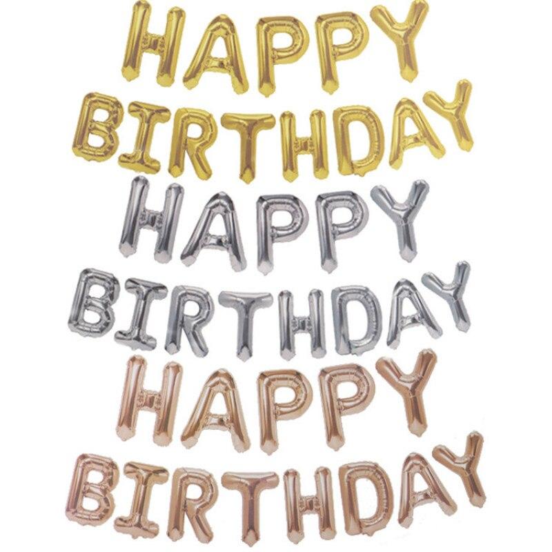 16 pouces 13 pièces/ensemble joyeux anniversaire or Rose argent nombre ballons en aluminium grand pour la décoration de mariage de fête d'anniversaire