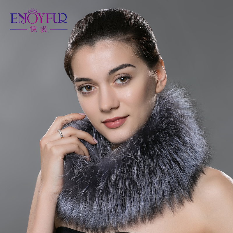 ENJOYFUR Women Scarves For Winter Natural Silver Fox Fur Scarf Warm Collar Brand New Fashion Fur Shawl For Female
