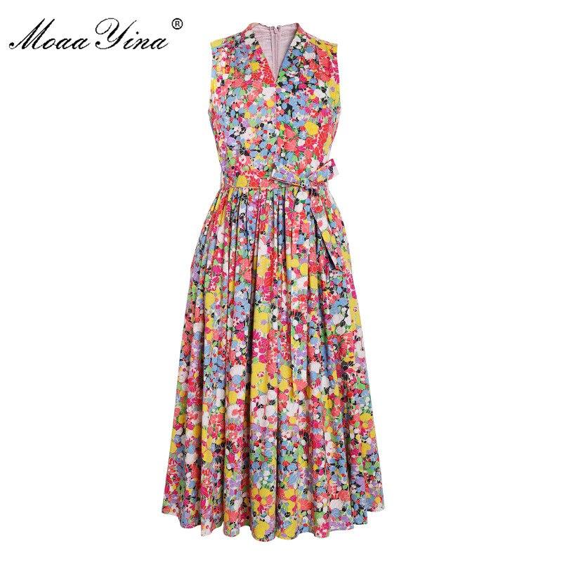 MoaaYina Fashion Designer Runway Cotton Dress Summer Women V neck Lace up Floral Print Holiday Elegant