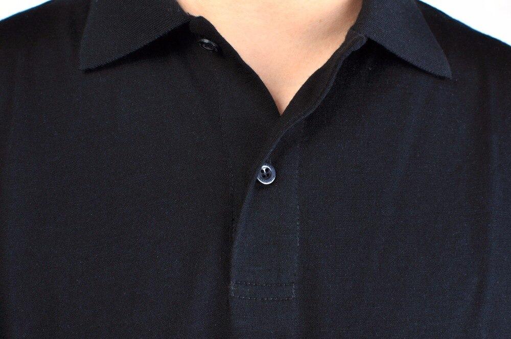 ผู้ชาย 100% ขนสัตว์ Merino ใหม่แขนสั้น blak เสื้อโปโลประตูน้ำหนักเบา Tee Lapel เปิด   ลง V ปุ่ม Collar-ใน โปโล จาก เสื้อผ้าผู้ชาย บน   2