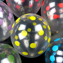 50pcs/lot 12 inch 2.8g  thick candy colored dots balloon Christmas children wave party transparent color spots
