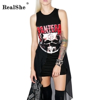1 Piece Cotton Mesh Women S Summer Plus Size Sexy Black Skeleton Printing Irregular Hand Painted