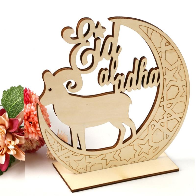Wooden Eid Mubarak Decoration For Home Moon Islam Mosque Muslim Wooden Plaque Hanging Pendant Festival Party Eid Mouton