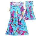 2017 Nova Impressão Verão Vestido Sem Mangas Vestido De Praia para Meninas Costum Trolls para a Roupa Do Bebê Crianças Se Vestem com Arco Bonito T870