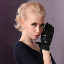 Genuine Leather Gloves Female Spring Autumn Thin Style Smooth Nylon Lining Black Womans Sheepskin TU5803