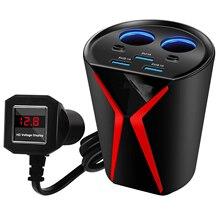 Zeoota Copo Carregador De Carro Adaptador De Energia 3 Portas USB 3.1A 2 Sockets Isqueiro Tensão de Monitoramento para iPhone Samsung Huawei