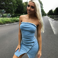 2018 Fashion Summer Dress Vadim Ukraine Cotton Solid Sleeveless Above Knee Mini Natural New Hot Button Irregular Dress Female