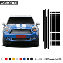 Car Hood Trunk Rear Side Skirt Racing Stripe Body Kit Decal Car Stickers For Mini Cooper Countryman R60 2013-2016 Accessories car styling side racing stripes hood rear engine cover trunk vinyl decal sticker for bmw mini cooper countryman r60 2013 2016