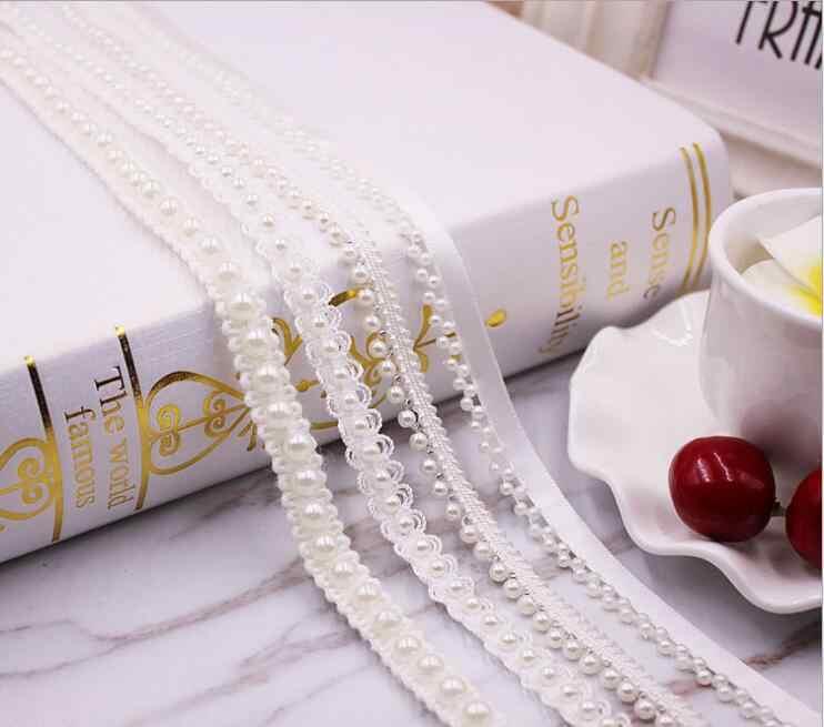 10 ярдов 1 см белый жемчуг кружевная лента с бусинками отделка винтажная сетчатая ткань Свадебное кружево из бисера жемчужная отделка тесьма кружева швейная аппликация