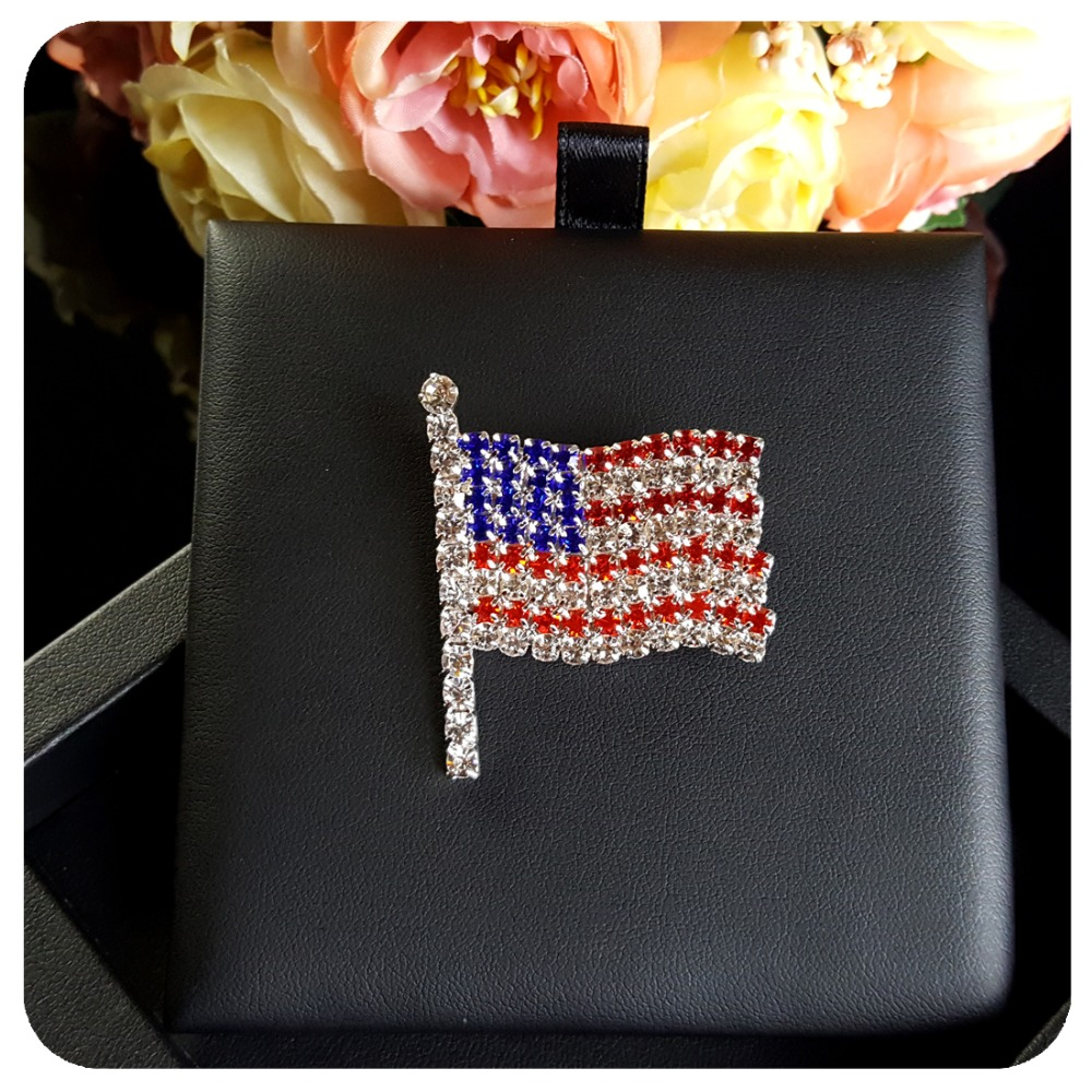 Hand Made Jewelry Rhinestone USA Flag Brooch Pins  In Brooches From Jewelry  U0026 Accessories On Aliexpress.com | Alibaba Group