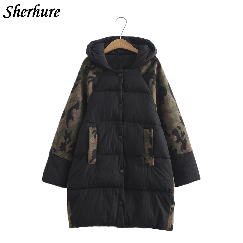 2017 New Women Camouflage Winter Warm Long Down Coat Plus Size 6XL Long Sleeve Overcoat Female Loose Hooded Jacket Cotton Coat 2017 new women winter parkas fashion hooded thick warm medium long down cotton jacket long sleeve loose big yards female coat