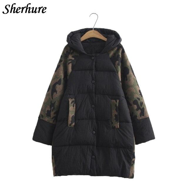 Новинка 2017 года Для женщин Камуфляж зимние теплые длинные Подпушка пальто плюс Размеры 6xl с длинным рукавом пальто женские свободные куртка с капюшоном хлопковое пальто