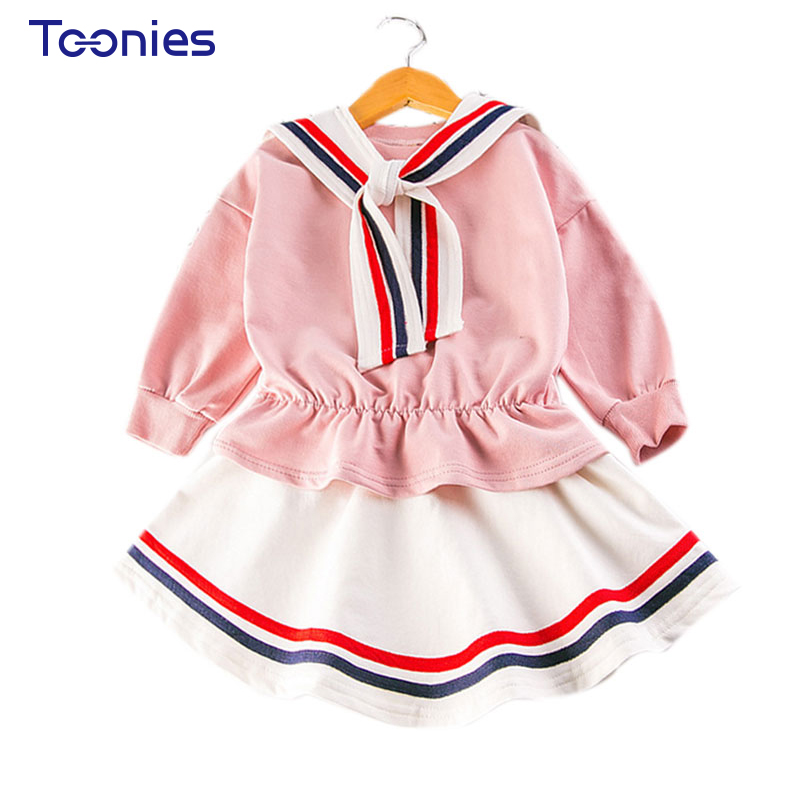 New Sportswear Suit 2017 Autumn Clothing Set Baby Girl Clothes Cute Girls Suits Fashion Striped Children's School Uniform Sets 15 free shipping top striped dress children baby 3 pcs suit set girl s clothing sets girls sport suits chilren set
