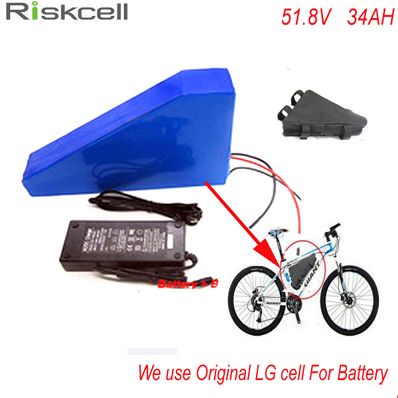 Deep cycle 51.8V 34ah LG 18650 cell Lithium Battery Pack Powerful 52v 1500w Triangle eBike Battery with triangle bag +charger 48v 34ah triangle lithium battery 48v ebike battery 48v 1000w li ion battery pack for electric bicycle for lg 18650 cell