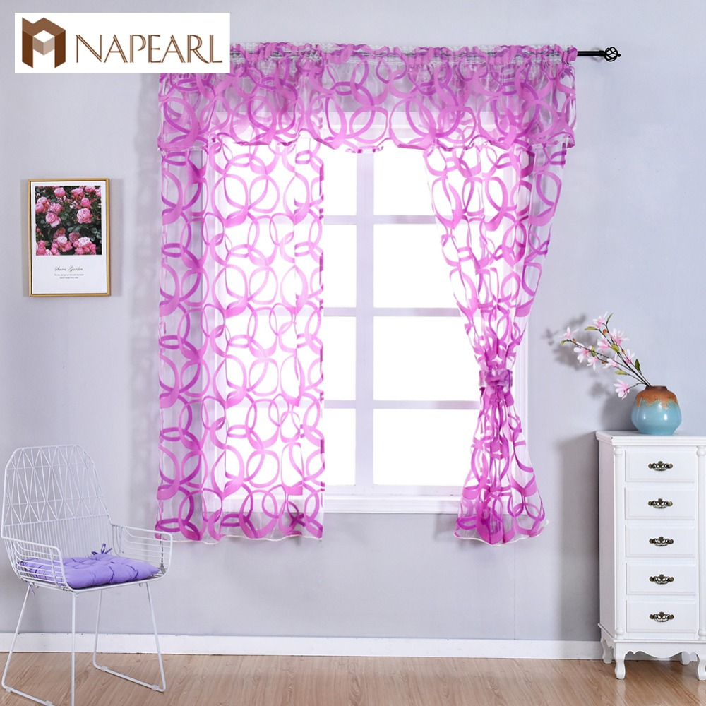 NAPEARL Kitchen Window Valance And Tiers Geometric Design Organza Gauze Sheer Short Curtains Endless Pattern Tulle Decor Drapes
