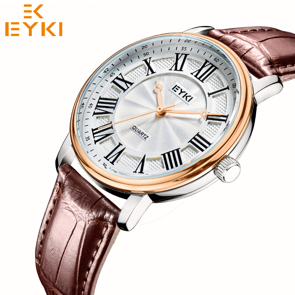 EYKI 1052 Luxury Quartz Watch Men Women Casual Wristwatch Lovers Watches Leather Watchband Clock Male Regalo Hombre 2019 News