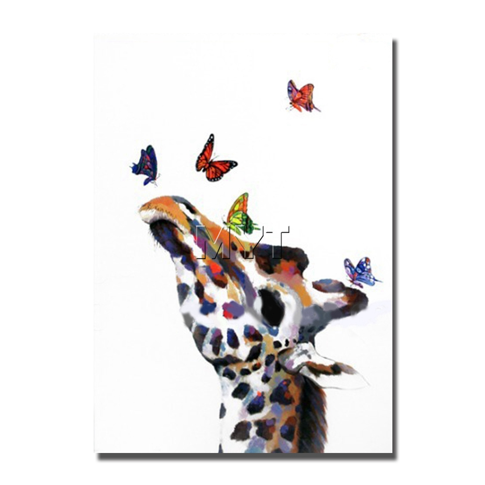 Animal Head Home Wall Decorations Cartoon Giraffe Oil Paintings For Kids Room Wall Decor Dropship Accept Free Shipping In Painting Calligraphy From Home