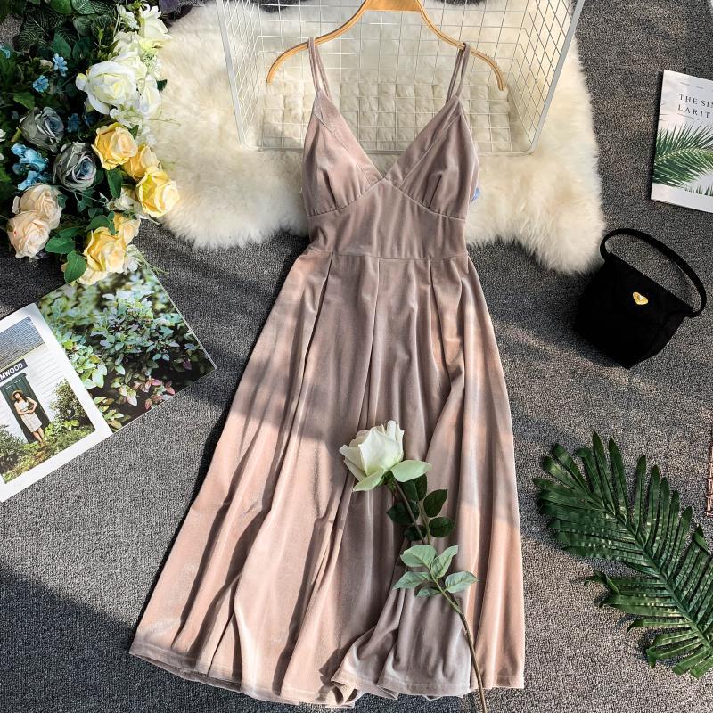 Apricot Vintage Sleeveless Knee Length Velvet Dress 1