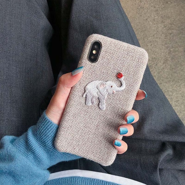 Cute Embroidered Elephant Phone Case For iPhone