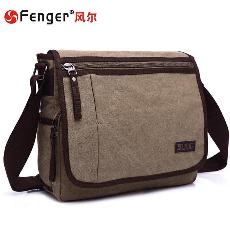 ФОТО Man bag canvas messenger bag rectangle shoulder diagonal casual fashion men's business bag khaki, dark blue Computer Bag
