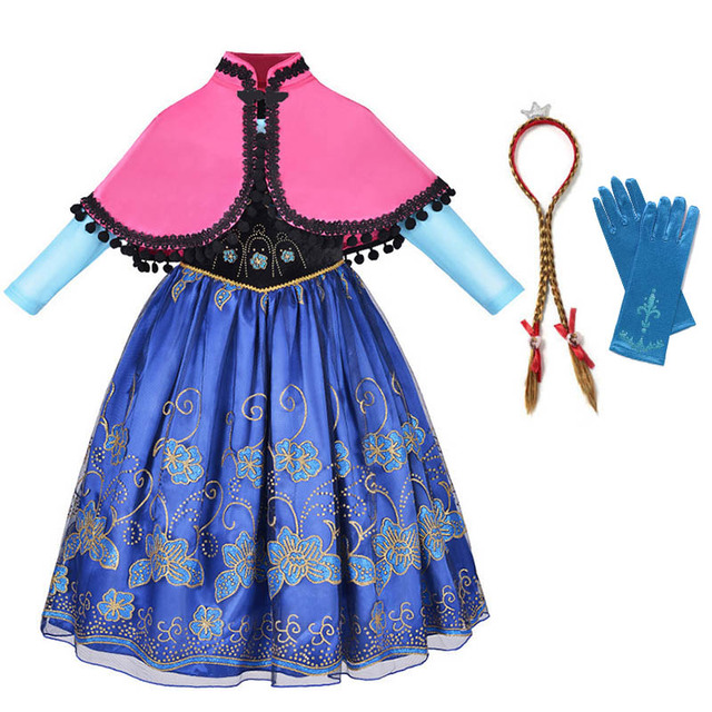 Girls Anna Dress Princess Cosplay Costume with Cape Chidren Party Carnival Halloween Clothes Kids Anna Elsa Fantasy Dress Set