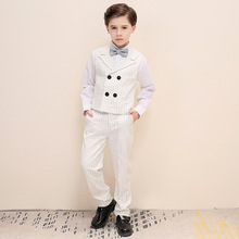 Boys England White Vertical Striped Lapel Children Vest Piano Show Catwalk Blazer Set Boy Piano Wedding Party Costumes H464 недорого