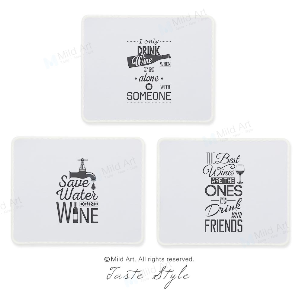 Nordic Black and White Wine Typography Inspirational Quotes Food Custom Print Creative Gift PC Gaming Computer Mouse Pad Mat Set