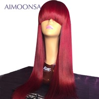 Bang Wig Human Hair Burgundy Lace Front Wig 99J Lace Wigs With Bang 13x6 Deep Part Straight Lace Wig With Bang Aimoonsa