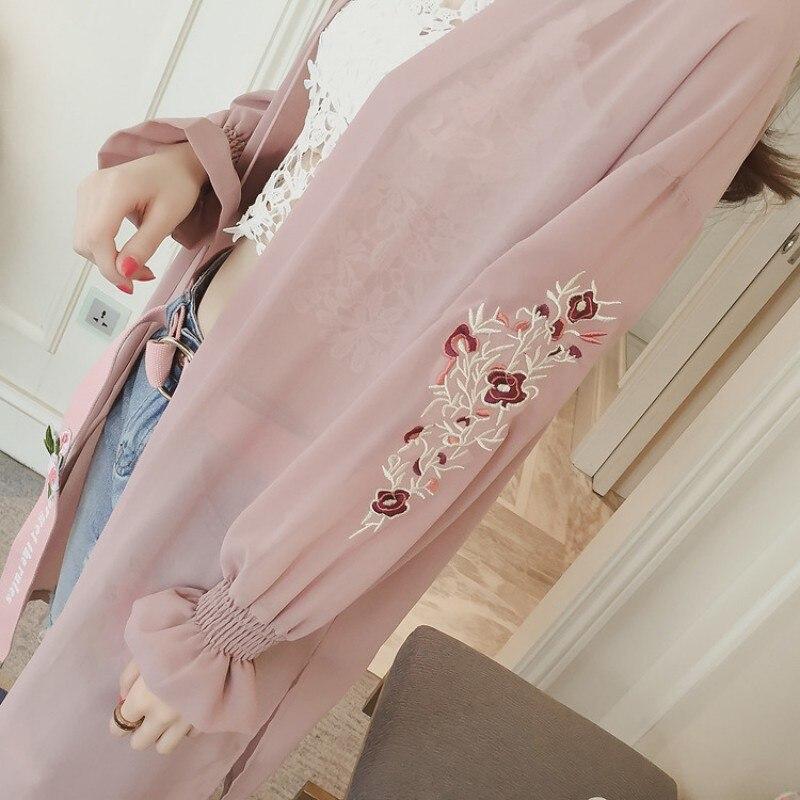 Női Chiffon nyári blúz Virágos hímzés Kimono kardigán ujjú - Női ruházat - Fénykép 6