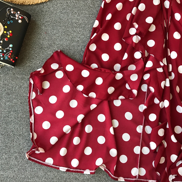 Women Beach Red Dress 2019 Summer New Seaside Holiday Sleeveless Dot Print Casual Vestidos E496 56