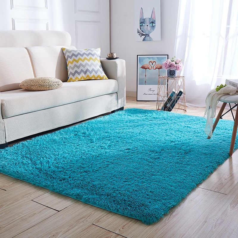 유럽 현대 직사각형 담요 긴 머리 비 슬립 실크 바닥 매트 거실 커피 테이블 깔개 침실 침대 두꺼운 카펫