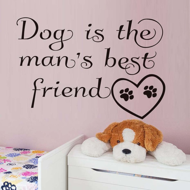 Dog Is The ManS Best Friend Quotes Wall Decals Paw Heart Print Stickers Waterproof Art