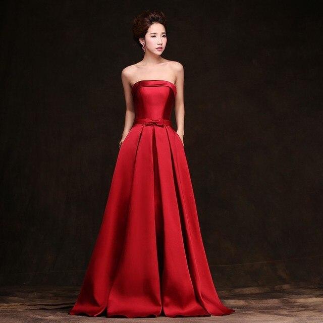 New Vestido de Noiva Simples Strapless Mangas Danni Vinho Tinto Fino Longo Vestido de Baile Do Partido Personalizado Vestido Formal Mãe Vestido