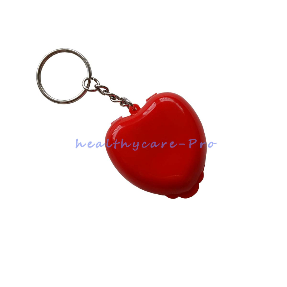 500PCS Protect CPR Masks KeyChian Mouth To Mouth Rescue Shields in mini Heart Box Red