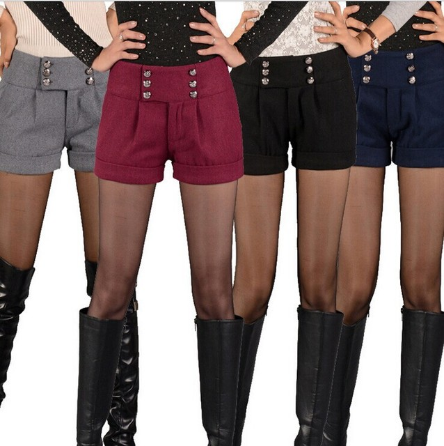 new winter boots, pants 6 buckle fashion female wild multicolor models of large woolen shorts