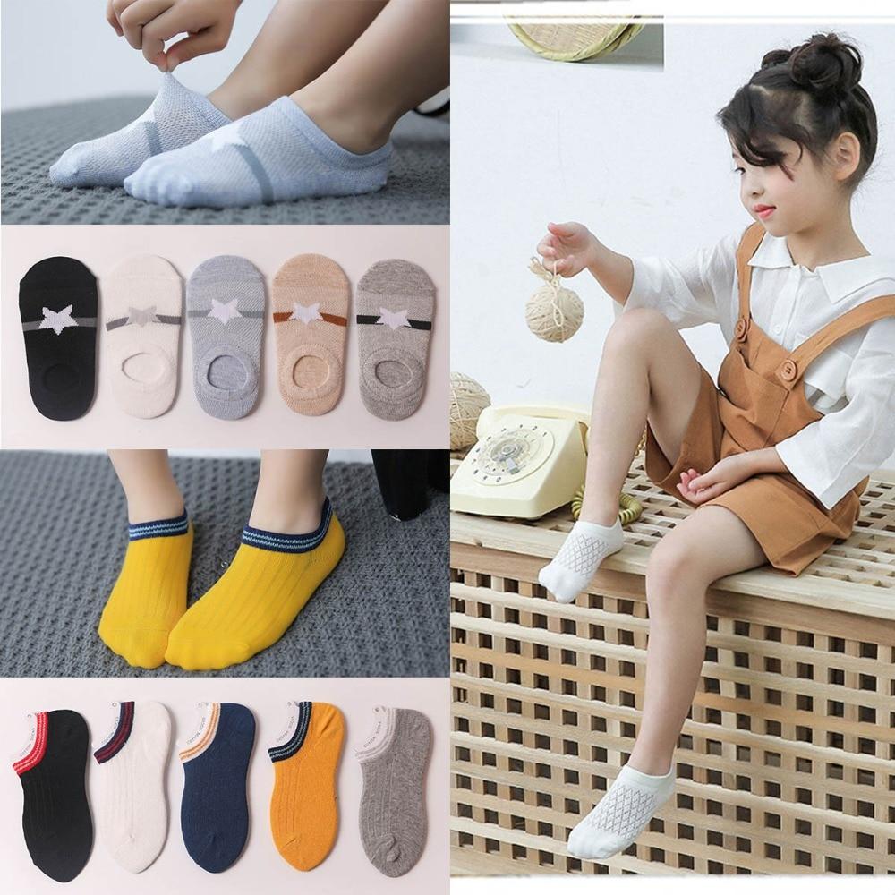 5 Pairs/lot Spring Summer Thin Girls Sock Kids Cotton Mesh Boat Socks Lovely Animal Breathable Toddler Boys Ankle Sock