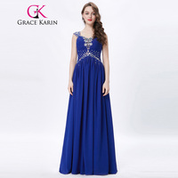 Grace Karin Womens Evening Dresses 2017 Chiffon Elegant Royal Blue Formal Dresses Evening Wear Beaded Long