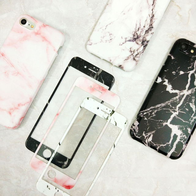 detailed pictures 75aa3 ade14 US $9.17 |Marble Cases + Screen Protector Tempered Glass Case For iPhone 7  7Plus Soft Gel TPU Cover Marble Case for Apple iPhone 6 6s Plus-in Fitted  ...