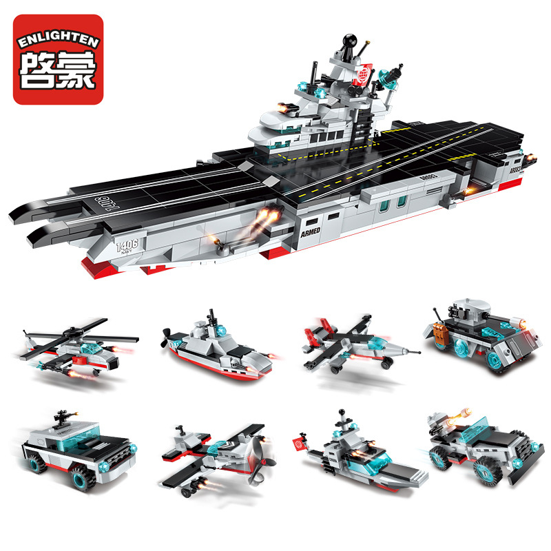 ENLIGHTEN 1406 8 in 1 Army Cars Aircraft Carrier Weapon Figure Blocks Construction Building Bricks Toys For Children Compatible decool 3117 city creator 3 in 1 vacation getaways model building blocks enlighten diy figure toys for children compatible legoe