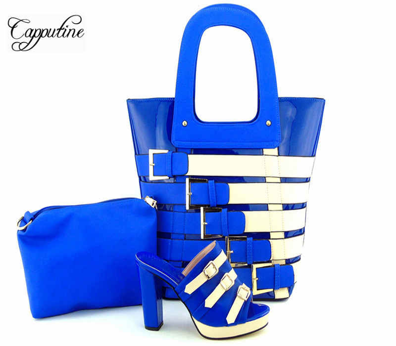 Capputine New Italian Woman PU Leather Shoes And Shopping Big Bag Set African Fashion High Heels Shoes And Bag Set For Party capputine new fashion shoes and bag set for party usage new italian high heels ladies teal color shoes and bag set bch 40