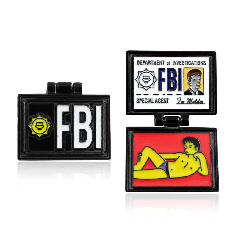 X-Files FBI Fox Mulder ID Card Brooches The Simpsons Department of  investiations Pin Enamel pins badge Lapel Jeans shirt Jewelry