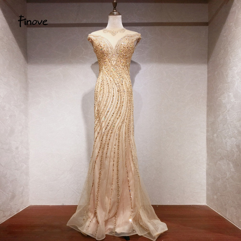 Finove New Robe de soiree Evening Dress Long 2019 Champagne Chic Fully Beaded Crystal Elegant Mermaid