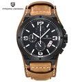 2016 Pagani Marca de Diseño Único de La Moda Hombres de Los Relojes de Buceo 100 M Deportes Militares relojes de Pulsera de Cuero Reloj de Cuarzo Dial Grande