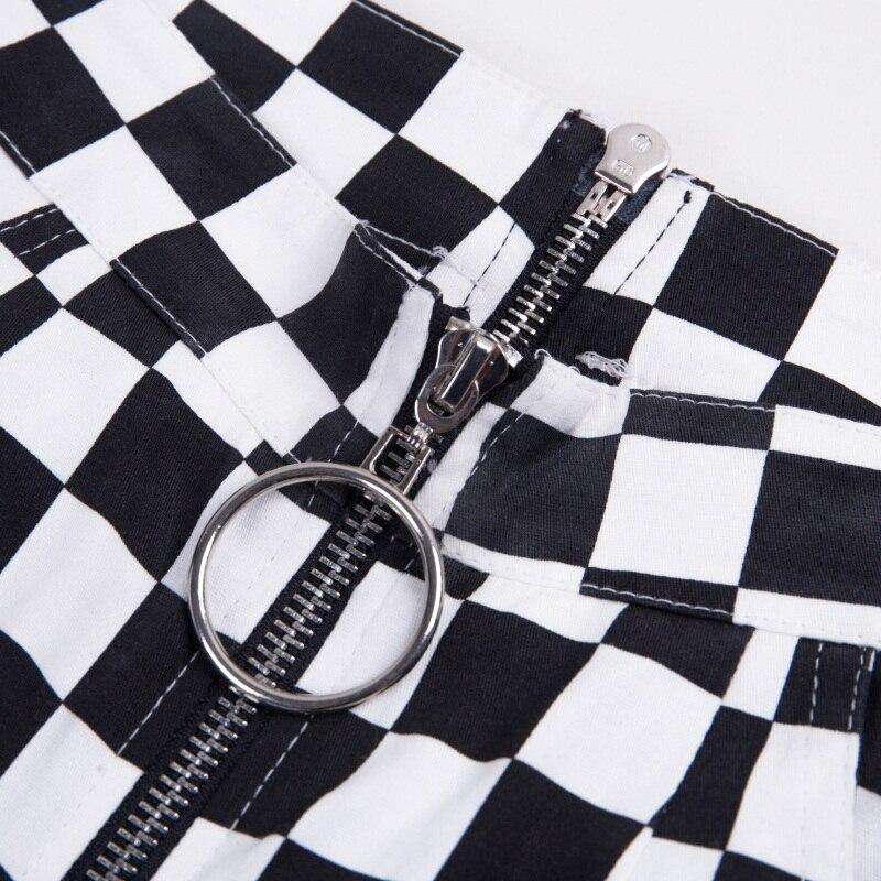 InstaHot Plaid Zipper Checkered Straight Pants Women Fashion Casual Slim Pockets Long Pants Black White Pencil Pantalon Femme 22