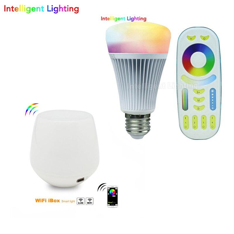 1X télécommande RF + 2.4G contrôleur wifi + Mi Light 1x8 w/2x8 w/3x8 w/4x8 w E27 RGBWW (RGB + blanc chaud/blanc) LED Ampoule