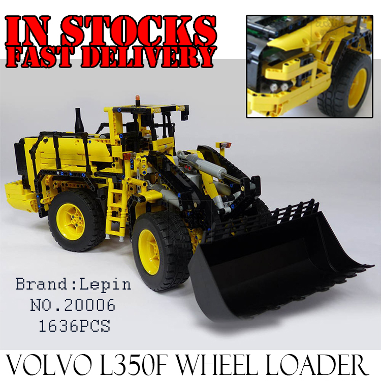 LEPIN 20006 Technic series 1636pcs Volvo L350F wheel loader Model Building Blocks Bricks Compatible Toys for children gift 42030 lepin 22001 pirate ship imperial warships model building block briks toys gift 1717pcs compatible legoed 10210