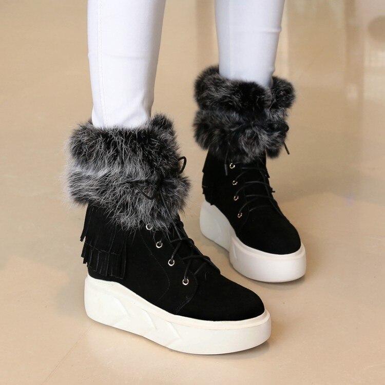 Felpa Piel Invierno Zapatos La De Tobillo Negro Las Mujeres Plantilla Caliente Alta Plataforma Nieve Calidad Mujer {zorssar} gris Gamuza Nuevo Botas ta65xaS