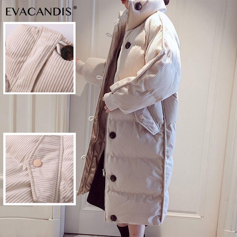 Long Bubble Coat Winter Jacket Women   Parka   Coat Korean Corduroy Thick Cotton Padded Hooded Plus Size Puffer Jacket Overcoat