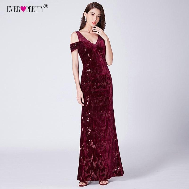 Elegant Burgundy Mermaid Evening Dresses Long 2019 Ever Pretty V neck Sexy Cheap Lace Sequin Formal Evening Gowns Vestido Azul